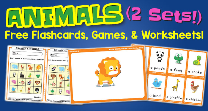 Free Animals Flashcards Games and Worksheets