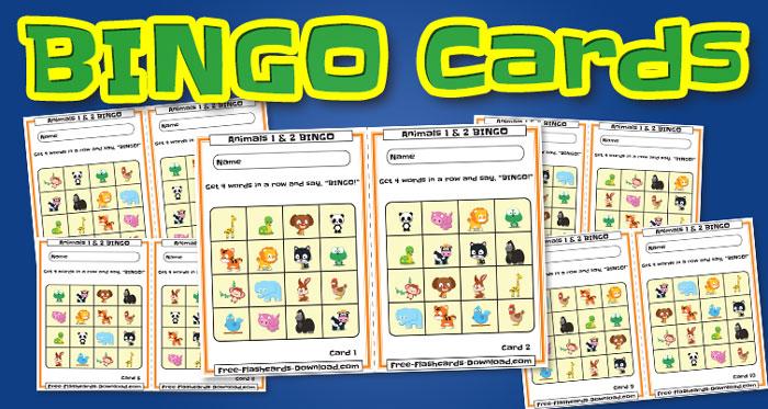 animals bingo cards 10sets
