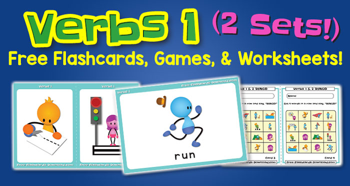 Free Verbs Flashcards Games and Worksheets