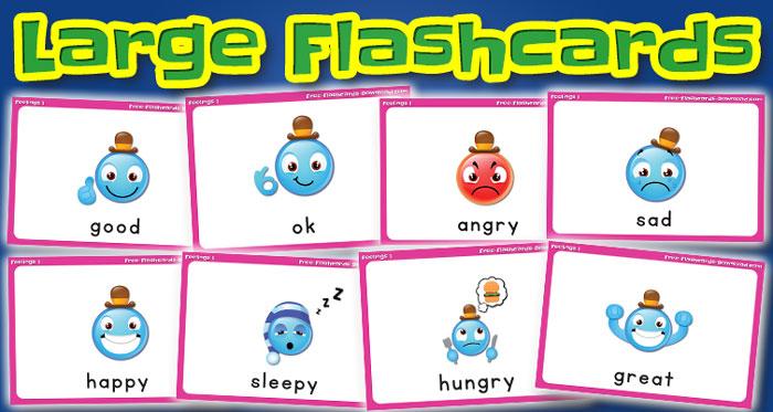 feelings large flashcards set1 captions