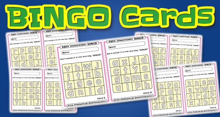 lowercase alphabet bingo cards abc 10sets