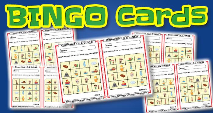 opposites bingo cards 10sets