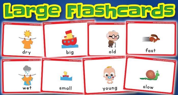 opposites large flashcards set1 captions