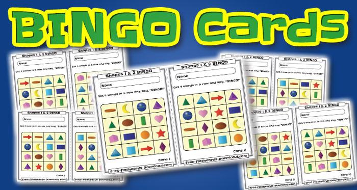 shapes bingo cards 10sets