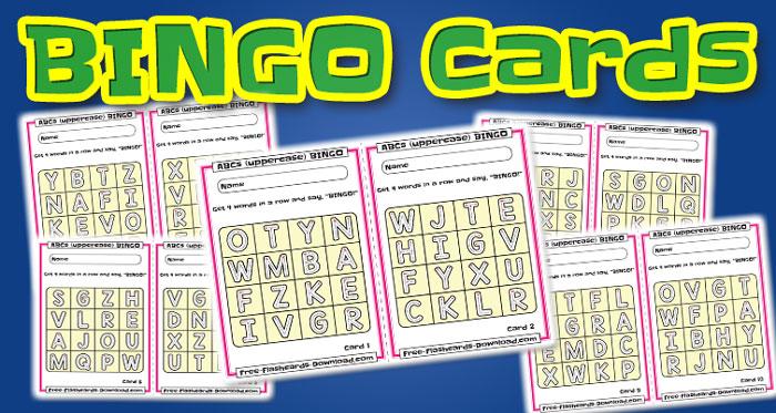 uppercase alphabet bingo cards abc 10sets