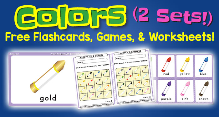 Free Colors Flashcards Games and Worksheets