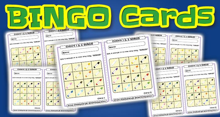colors bingo cards 10sets