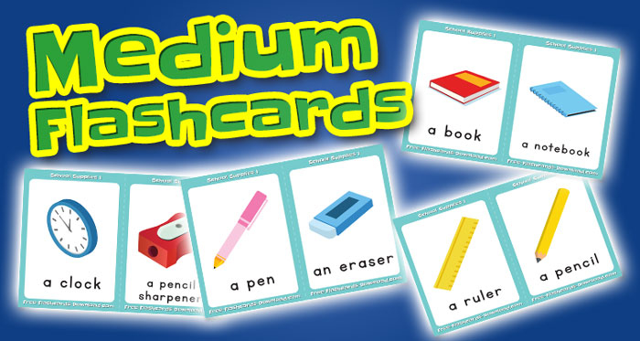 school supplies medium flashcards set1 captions